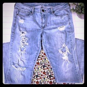 AE Distressed Skinny Stretch Jeans Size 14 Destroy